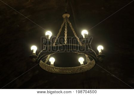 Details of a chandelier in the dungeon