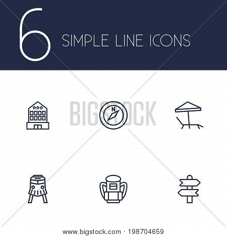 Set Of 6 Relax Outline Icons Set