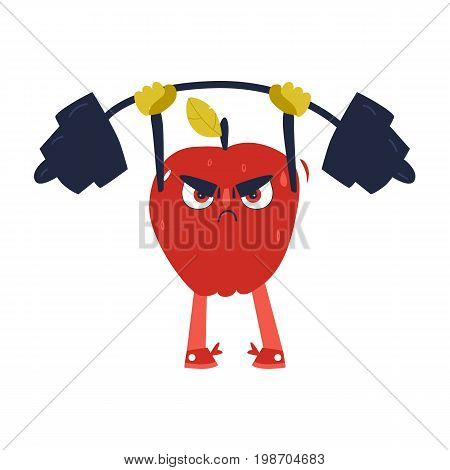 Funny apple character working out in gym, lifting barbell, comic, cartoon vector illustration isolated on white background. Funny serious red apple character, sportsman lifting barbell, bodybuilding