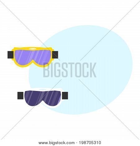 Skiing, snowboarding mask, goggles, eyewear, protective eye glasses, flat style vector illustration. Flat vector skiing, snowboarding mask, goggles, protective eyewear with space for text.