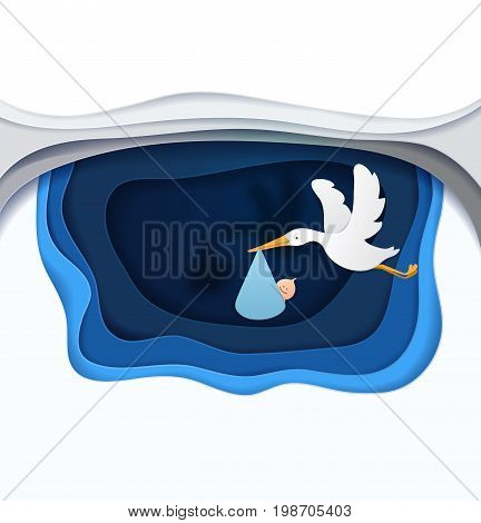 stork With Baby paper art vector paper cut illustration