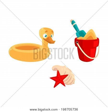 Summer vacation objects - toy bucket, shovel, rubber duck ring, sea shells, cartoon vector illustration isolated on white background. Summer vacation objects - bucket, shovel, duck ring, shells