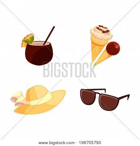 Beach summer vacation objects - straw hat, sunglasses, ice cream cones and coconut cocktail, cartoon vector illustration isolated on white background. Beach hat, sunglasses, ice cream, coconut drink