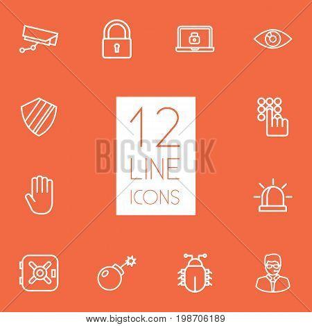 Set Of 12 Procuring Outline Icons Set