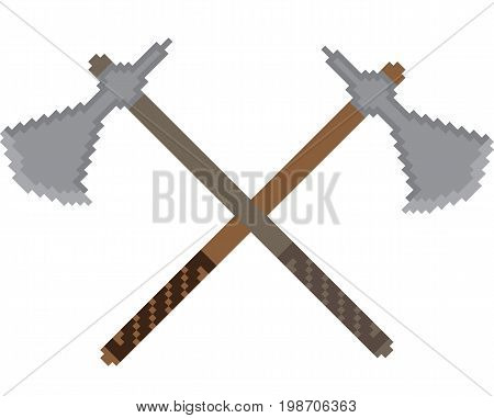 Pixel icon with the image of crossed battle axes. Illustration for computer and console games about Vikings or medieval wars