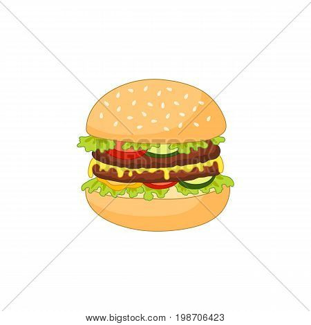 Vector burger flat isolated illustration on a white background. Tasty fresh fastfood chickenburger, cheesburger with vegetables. Sandwich burger with onion , lettuce tomato cheese and sauce