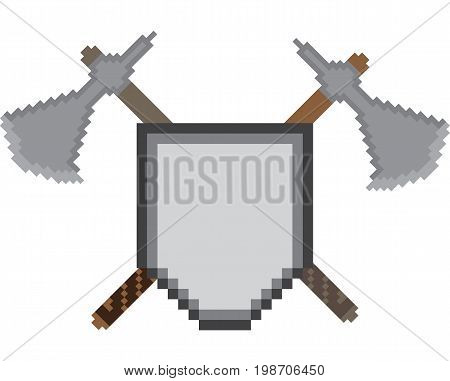 Pixel icon with a shield on the background of crossed battle axes. Illustration for computer and console games about Vikings or medieval wars