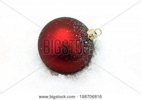 Red Christmas Ornament In The Snow decoration for xmas
