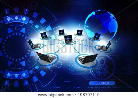 Computer Network, internet connection concept. 3d rendering