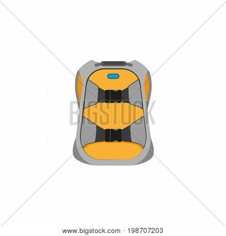 vector snowboarding backpack flat icon. Isolated illustration on a white background. Snowboard, ski winter activity equipment, tools object design.