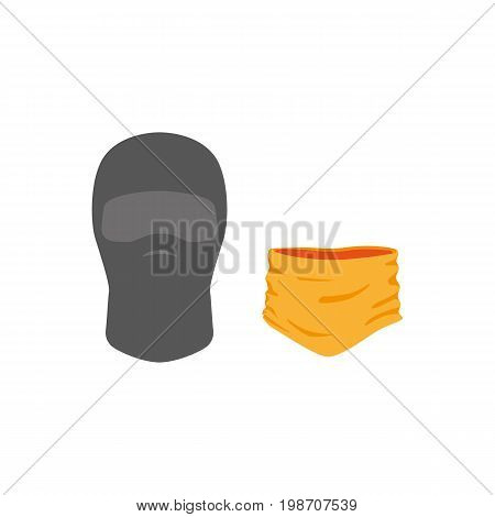 vector snowboarding mask balaclava , scarf flat icon. Isolated illustration on a white background. Snowboard, ski winter activity equipment, tools object design.