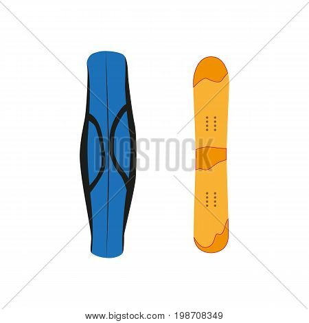 vector snowboard with cover flat icon. Isolated illustration on a white background. Snowboard, ski winter activity equipment, tools object design.