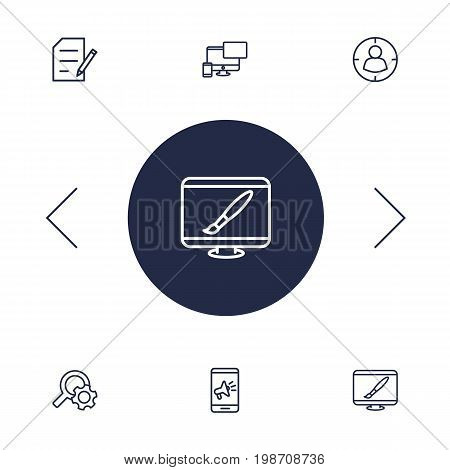 Set Of 6 Optimization Outline Icons Set