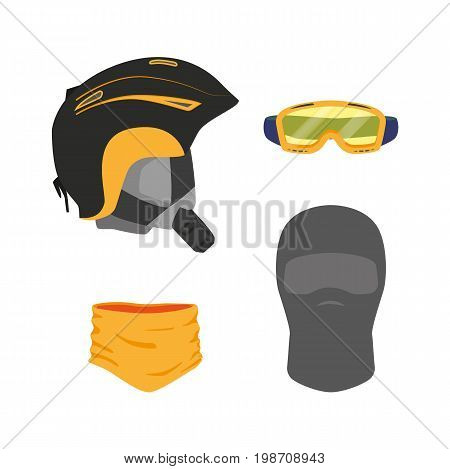 vector snowboarding head equipment set - helmet goggles mask balaclava scarf flat icon. Isolated illustration on a white background. Snowboard, ski winter activity equipment, tools object design.