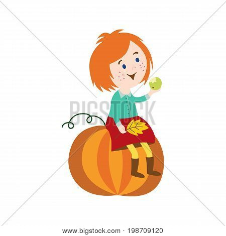 vector red-hair girl child wearing skirt, rubber boots sitting at big pumpkin keeping autumn leaves in hand. cartoon isolated illustration on a white background. Autumn activity kids concept