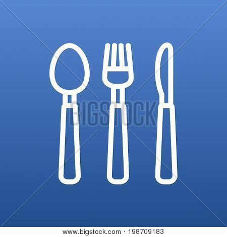 Isolated Silverware Outline Symbol On Clean Background