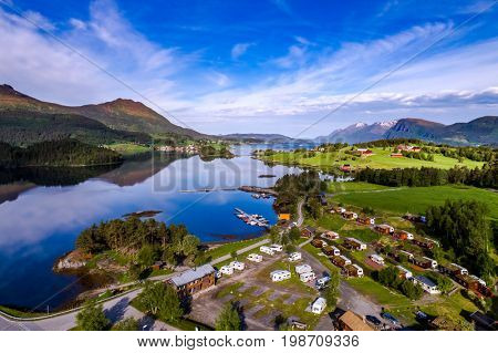 Beautiful Nature Norway natural landscape. Aerial view of the campsite to relax. Family vacation travel, holiday trip in motorhome.