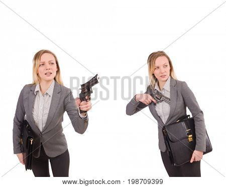 Businesswoman with gun isolated on white
