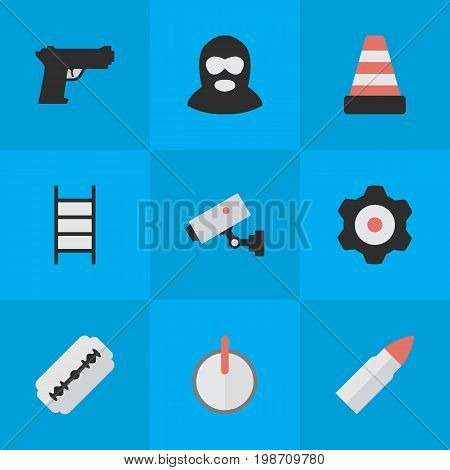 Vector Illustration Set Of Simple Crime Icons