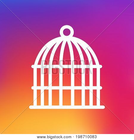 Isolated Birdcage Outline Symbol On Clean Background