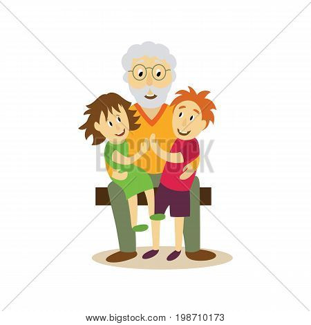 vector grandfather sits on bench with girl boy at his knees hugging them. Flat cartoon isolated illustration on a white background. Adult old grey-haired man embracing kids. Happy family hugs concept