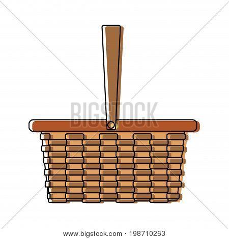 wicker basket camping cartoon icon symbol empty vector illustration