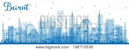 Outline Beirut Skyline with Blue Buildings. Business Travel and Tourism Concept with Modern Architecture. Image for Presentation Banner Placard and Web Site.
