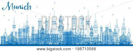 Outline Munich Skyline with Blue Buildings. Business Travel and Tourism Concept with Historic Architecture. Image for Presentation Banner Placard and Web Site.