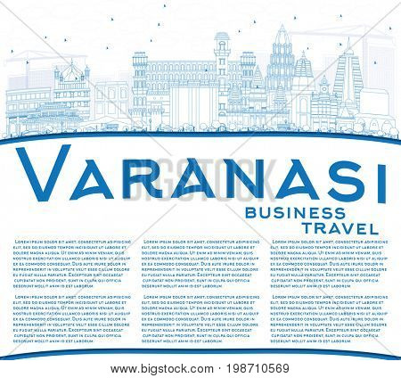 Outline Varanasi Skyline with Blue Buildings and Copy Space. Business Travel and Tourism Concept with Historic Architecture. Image for Presentation Banner Placard and Web Site.