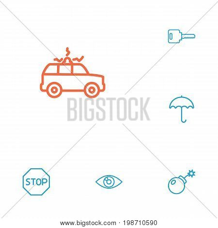 Set Of 6 Security Outline Icons Set
