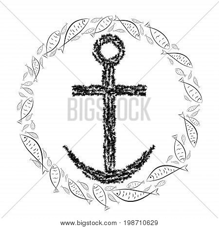 Anchor cross in the Christian religion in a circle of fish. Cross and crescent symbols of the birth of Christ from the body of Mary. Vector design.