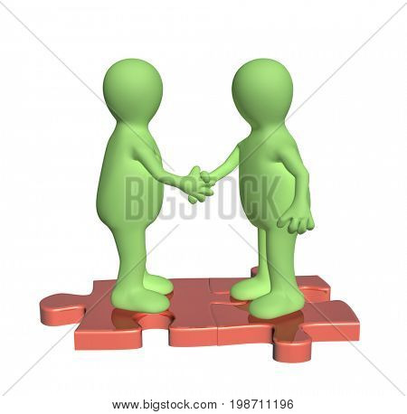 Success of teamwork. Handshake two 3d mans of green color on attached parts of puzzles. Isolated on white background. 3d render