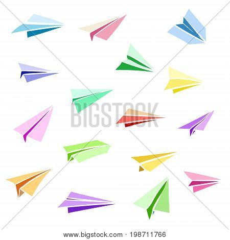 Vector paper airplane. Travel, route symbol. Set of colorful flat vector illustration of hand drawn paper plane. Isolated. Paper plane icon.