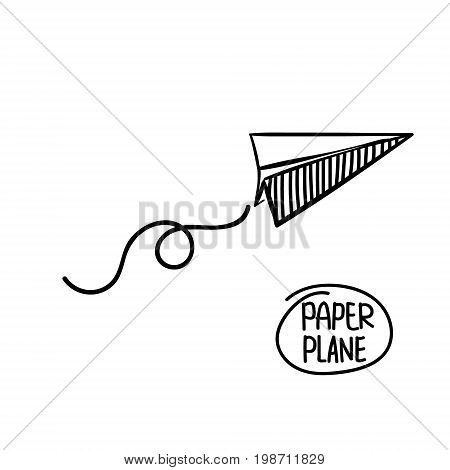 Vector paper airplane. Travel, route symbol. Vector illustration of hand drawn paper plane. Isolated. Outline. Hand drawn doodle airplane. Black linear paper plane icon