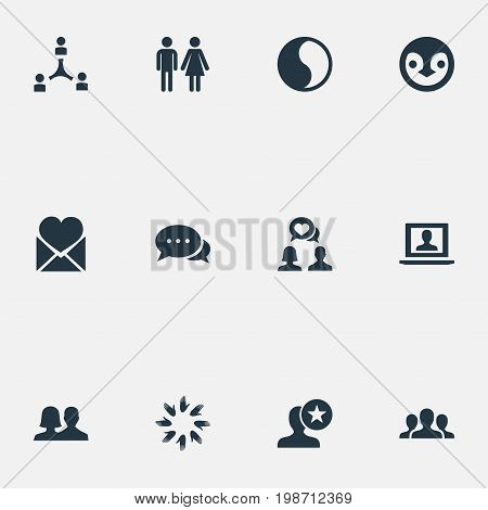 Vector Illustration Set Of Simple Fellows Icons