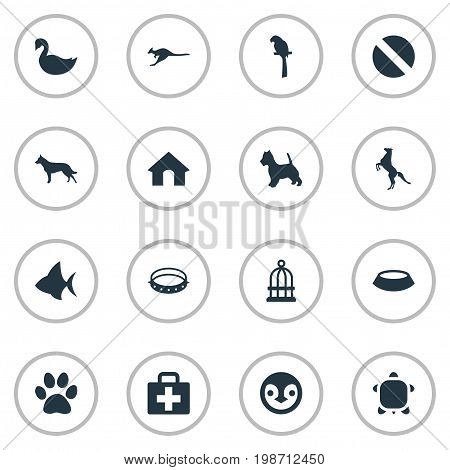 Vector Illustration Set Of Simple Fauna Icons