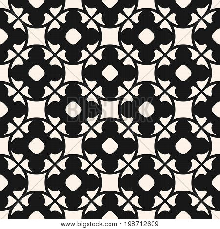 Vector seamless pattern in oriental style. Monochrome geometric ornament abstract repeat background, texture with floral shapes, circles, lattice. Dark design for prints, textile, home, decor, tiling.