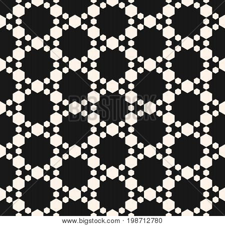 Subtle geometric seamless pattern with hexagons. Abstract modern texture, delicate hexagonal grid. Dark monochrome geometrical background. Elegant design for decor, textile, pillows, covers, furniture.
