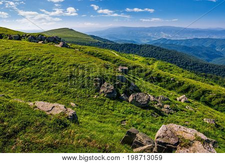 Steep Grassy Meadow On Hillside In Mountains