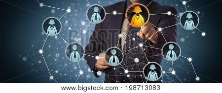 Blue chip manager contacting a businesswoman in a professional social network. Internet concept for global interconnection recruiting talent acquisition business technologies and networking.
