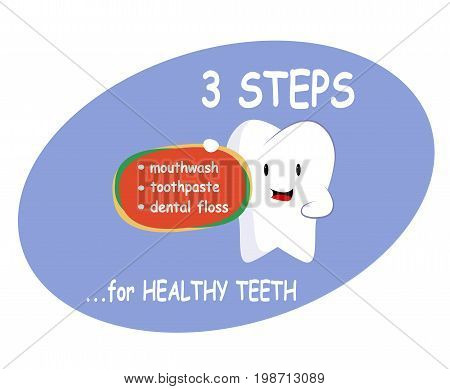 Healthy oral care in catoon style. Dent design flat style.