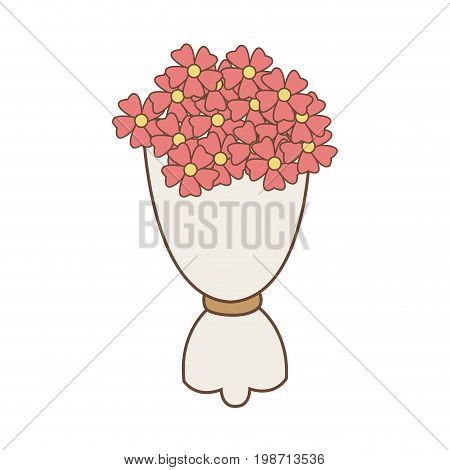 bouqet pink flowers romantic ornament wrapped paper vector illustration
