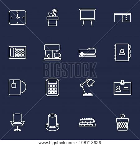 Set Of 16 Workspace Outline Icons Set