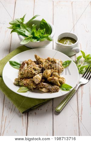 stew chicken with pesto sauce