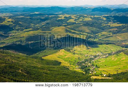 Aerial View Of Carpathian Countryside