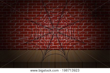 Cobweb illustration. Vector. On wooden scene and brick wall as background.