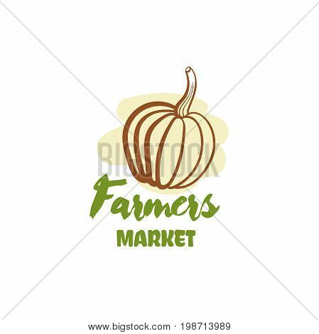 Farmers market. Vector illustration of color emblem of organic natural fresh products