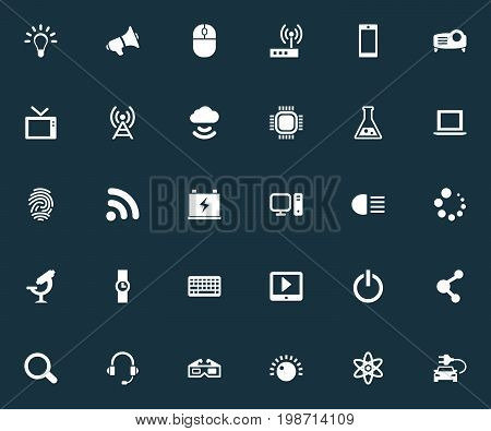 Vector Illustration Set Of Simple Hitech Icons