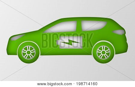 Green hybrid car in paper art style. Origami electric powered environmental vehicle side view. Contour automobile with battery sign. Vector illustration.