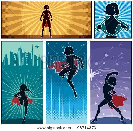 Set of 5 cartoon super heroine banners.